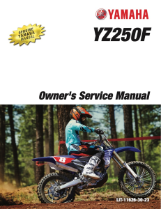 yamaha motorcycle yz250f 2017 workshop & repair manual