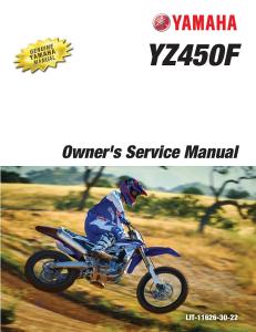 yamaha motorcycle yz450f 2017 workshop & repair manual