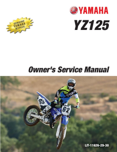 yamaha motorcycle yz125 2016 workshop & repair manual