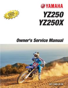 yamaha motorcycle yz250 yz250x 2016 workshop & repair manual