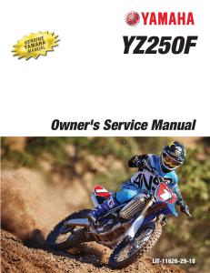 yamaha motorcycle yz250f 2016 workshop & repair manual