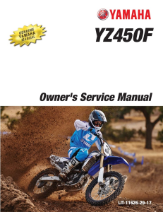 yamaha motorcycle yz450f 2016 workshop & repair manual