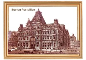 vintage print digital view of 100 years old boston postoffice usa us