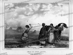 aucus indians of the pampas using boleadoras, emile lassalle, 1844