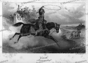 Gaucho or Argentine cowboy lassoing bull or cattle while riding a horse, 1835 | Photos and Images | Digital Art