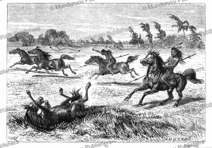 indians of the pampas catching horses with the bolas, johann baptist zwecker, 1868