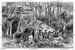 hut of fuegians of tierra del fuego, g. vuillier, 1885