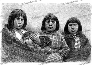 fuegians of tierra del fuego with face adornments, pranishnikoff, 1885