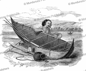 bark canoe from tierra del fuego, the illustrated london news, 1868