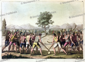 mapuche indians playing a game of ciueca, chile, g. bramati, 1820