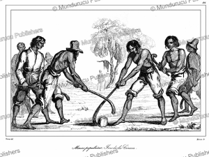 mapuche indians playing pali´n, chile, vernier, 1839