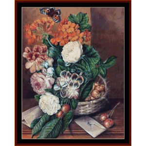basket of flowers - ad lucas  cross stitch pattern by cross stitch collectibles