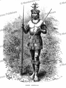 a core´guaje (correguaje) indian with blowpipe, colombia, e´douard riou, 1883