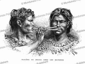 witoto (huitoto) indians snuffing tobacco, colombia, e´douard riou, 1883