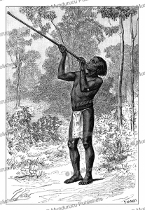 guahibo (sikuani) indian of colombia hunting with the blowpipe, p. fritel, 1884