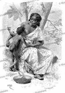 young black boy smoking and taking his mother's breast in the darien, panama, d. maillart, 1879