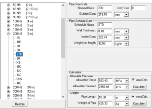 Pipe Schedule Table software | Software | Design