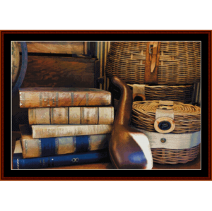 Books and Baskets - Vintage cross stitch pattern by Cross Stitch Collectibles | Crafting | Cross-Stitch | Other