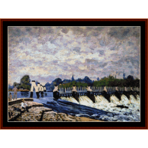 moelsley weir - alfred sisley cross stitch pattern by cross stitch collectibles