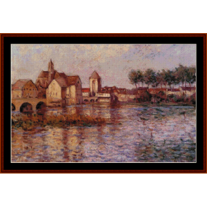 moret sur loing, 1892 - alfred sisley cross stitch pattern by cross stitch collectibles