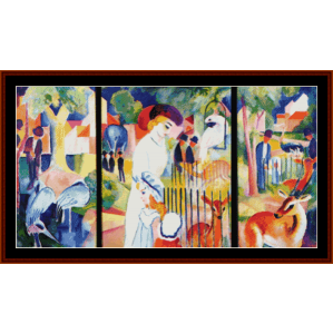 zoo triptych - august macke cross stitch pattern by cross stitch collectibles