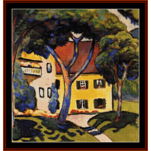house in a landscape - august macke cross stitch pattern by cross stitch collectibles