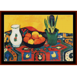 still life with hyacinths - august macke cross stitch pattern by cross stitch collectibles