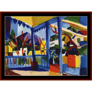 country house - august macke cross stitch pattern by cross stitch collectibles