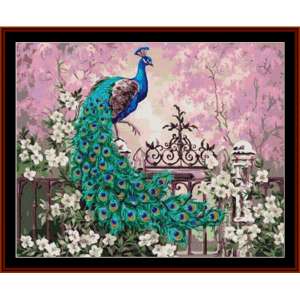elegant peacock - fantasy cross stitch pattern by cross stitch collectibles