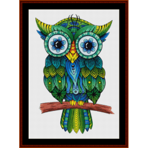 green owl - fantasy cross stitch pattern by cross stitch collectibles