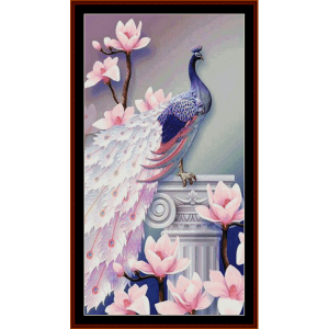 classical peacock - fantasy cross stitch pattern by cross stitch collectibles