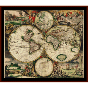 17th Century World Map - Vintage cross stitch pattern by Cross Stitch Collectibles | Crafting | Cross-Stitch | Other
