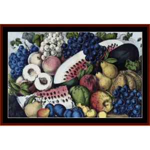 still life with fruit - vintage cross stitch pattern by cross stitch collectibles