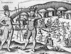 tattooed or painted scherves or guaragos indians from paraiso island on the paraguay river, ulrich schmidel, 1600