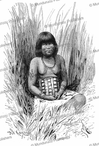 young toba girl with tribal tattoos, bolivia, edouard riou, 1884