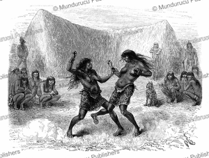 toba women armed with spikes fight to the death, often about a man, grand chaco in bolivia, edouard riou, 1884