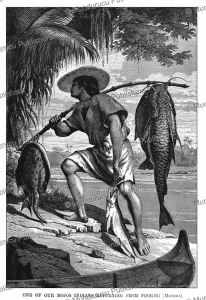 mojen~os or moxos (mojos) indian returning from fishing, bolivia, franz keller, 1874