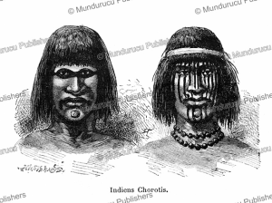 choroti indians (related to the toba) with tattoos, of the gran chaco of bolivia, e´douard riou, 1891