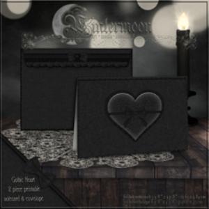 gothic heart printable notecard & envelope