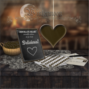 50 printable chocolate heart stickers