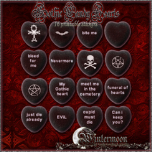 gothic candy hearts-16 printable stickers
