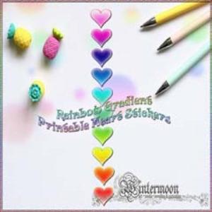 rainbow gradient printable heart stickers