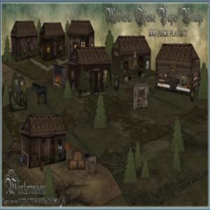 medieval theme printable paper village playset 1