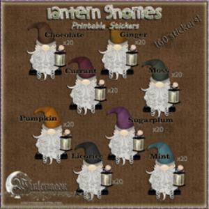 160 lantern gnomes printable stickers