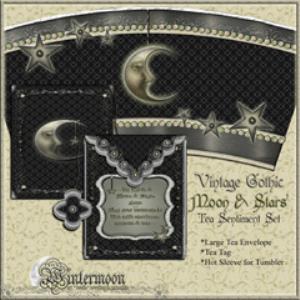 vintage gothic moon & stars printable tea sentiment set