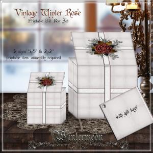 vintage winter rose printable gift boxes set