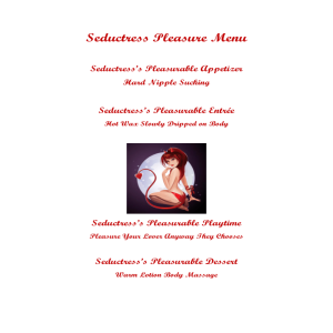 seductresses pleasure menu