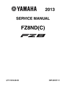 YAMAHA MOTORCYCLE FZ8 2013 Workshop & Repair manual | Documents and Forms | Manuals