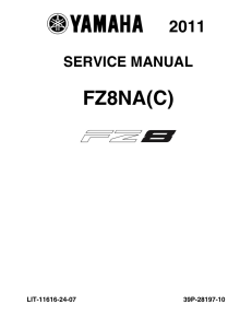 YAMAHA MOTORCYCLE FZ8 2011-2012  Workshop & Repair manual | Documents and Forms | Manuals