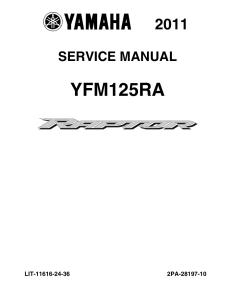 yamaha atv raptor 125 2011-2013  workshop & repair manual
